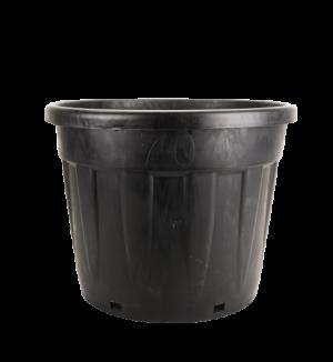 Tegla okrugla rebrasta, crna – 70L